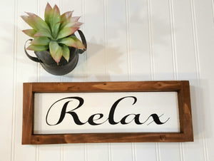 "Relax Framed Farmhouse Wood Sign 3"" x 12"" Inspirational Wood"