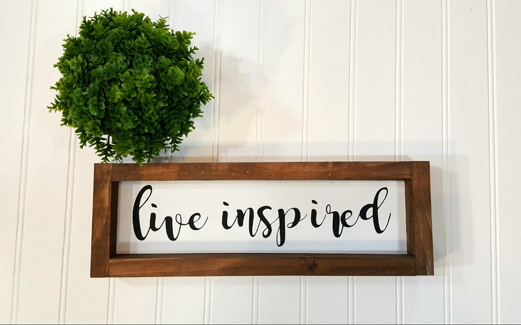 Live Inspired Framed Farmhouse Wood Sign 3