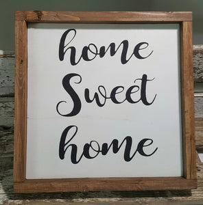 "Home Sweet Home Framed Sign Farmhouse Sign 12"" x 12"" Home Sweet Home Sign"