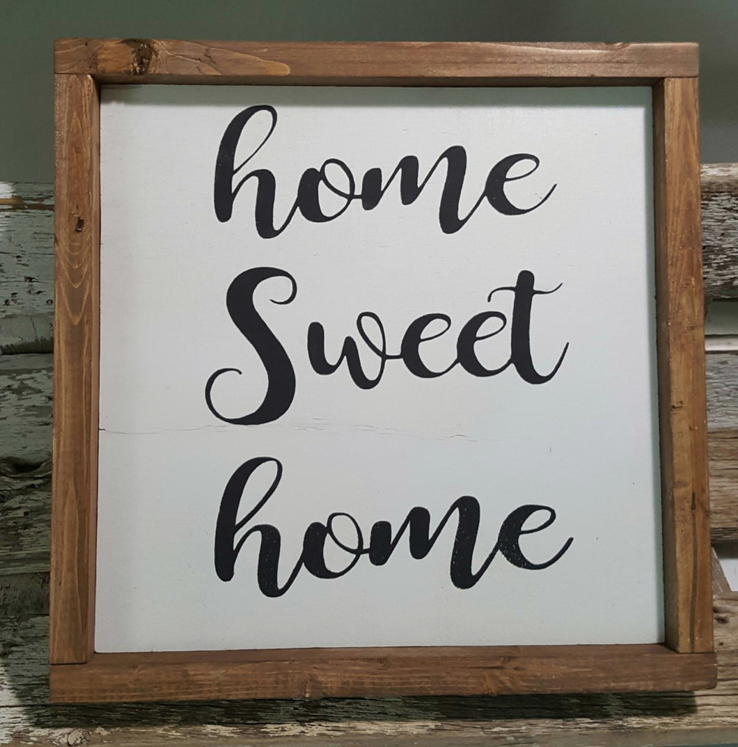 Home Sweet Home Framed Sign Farmhouse Sign 12