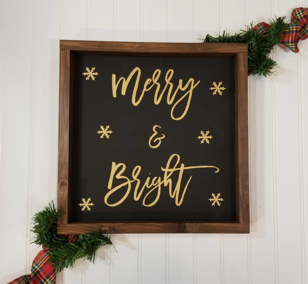Merry & Bright Black Farmhouse Christmas Decor Sign 12