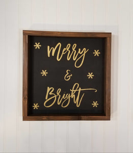"Merry & Bright Black Farmhouse Christmas Decor Sign 12"" x 12"""