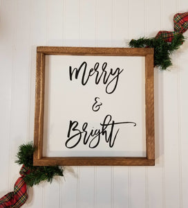 "Merry & Bright White Farmhouse Christmas Decor Sign 12"" x 12"""