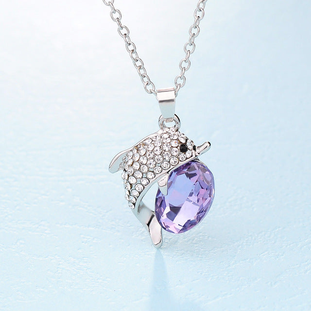 Beautiful Crystal Dolphin Pendant Necklace - Animal Charms