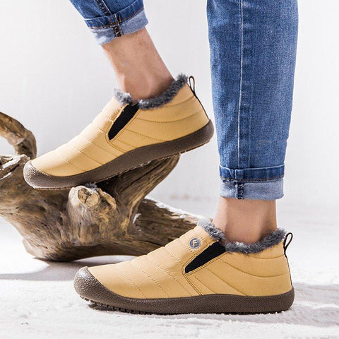 Image of Plus Size Unisex Waterproof Fur Lining Slip On Snow Boots