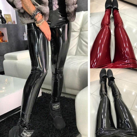 Image of Elastic High Waist Slim Fashion Leggings Pants