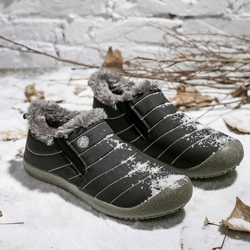 Plus Size Unisex Waterproof Fur Lining Slip On Snow Boots