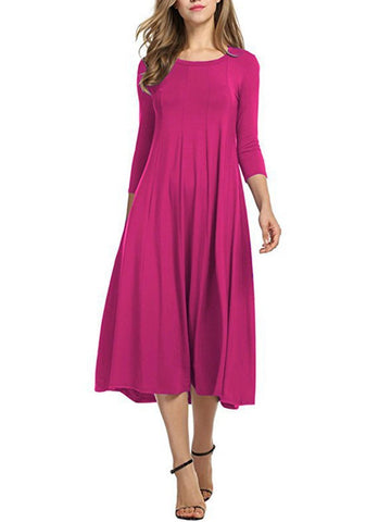 Image of Casual Solid Round Neck Long Dress