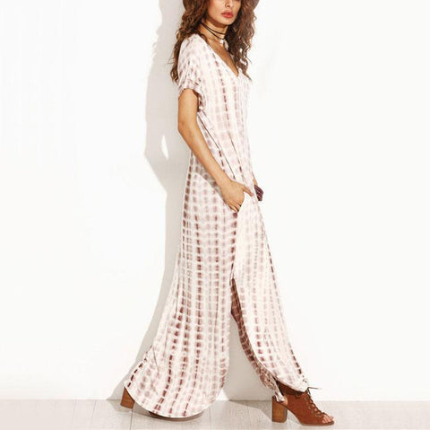 Image of Loose V Neck Irregular Floral Printed Maxi Dress