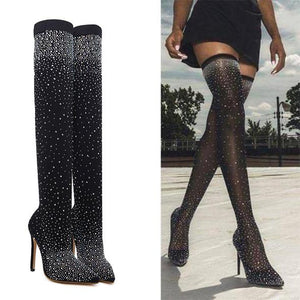 Sexy Sequin Stocking Thigh High Boot