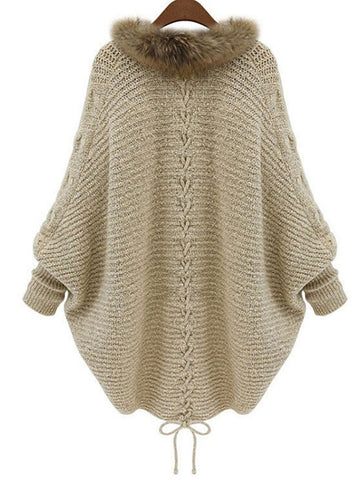 Image of Batwing Lace Up Casual Plain Cocoon Sweaters & Cardigan