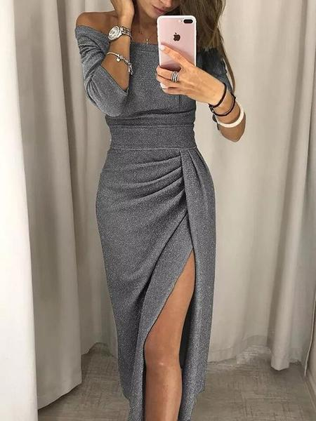 Slash Neck Plain Split Bodycon Dress