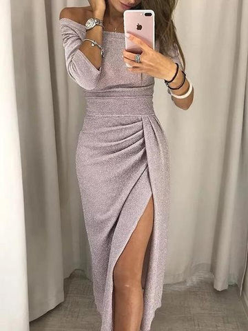 Image of Slash Neck Plain Split Bodycon Dress
