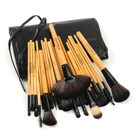 Premium Wood 24 Piece Makeup Brush Set