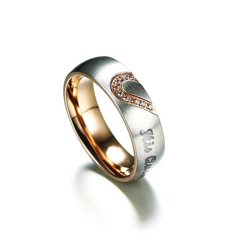 Image of His Queen Her King Real Love Heart Promise Ring Set