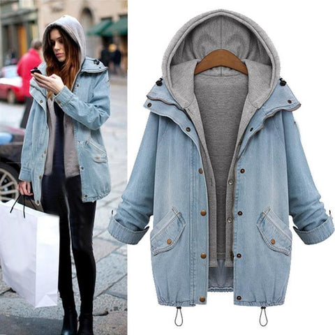 Image of Two Pieces Denim Coats with Hoodie Vest