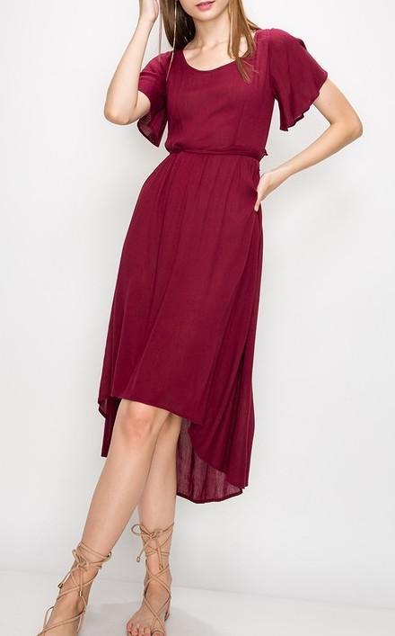 Solid Ruffle Keyhole Back High Low Flare Sleeve Dress