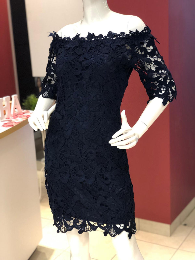 Navy Blue Off the Shoulder Lace Dress