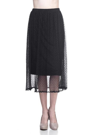 Black Polka Dot Mesh Midi Skirt