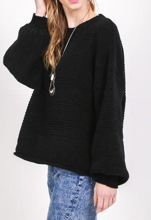 Relaxed Fit Knit Sweater Puff Sleeves