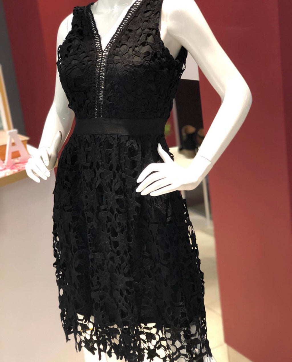 Black V Neck Front and Back Lace Dress