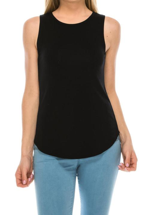 Sleeveless Solid Black Top