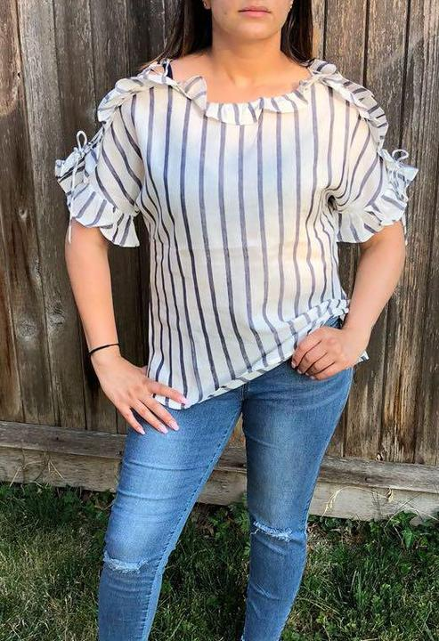 Grey Striped Top With Ruffle