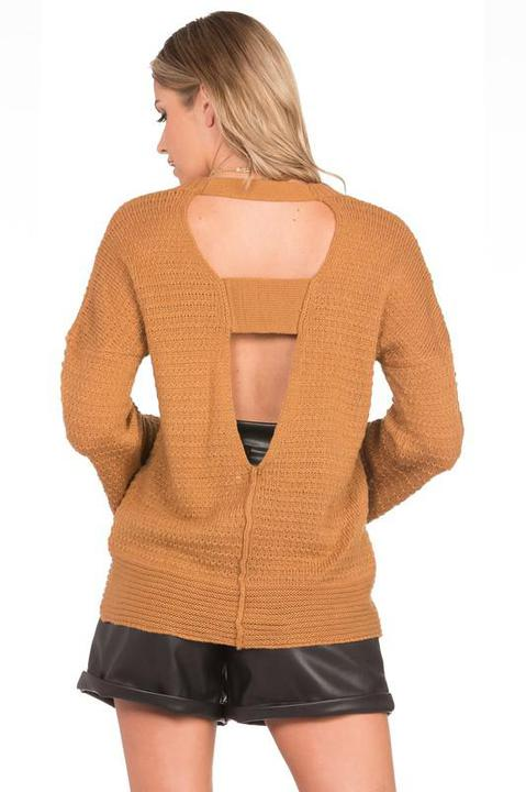 Plunge V Back Sweater