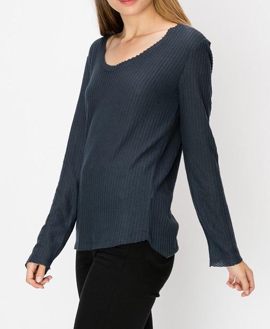 Drop Shoulder Long Sleeve Top With Raw Edge Detail