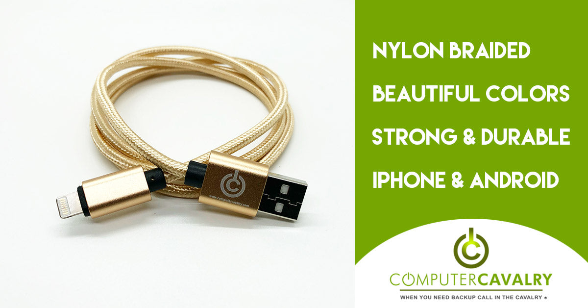 Nylon Braided iPhone Charger Cord - Gold