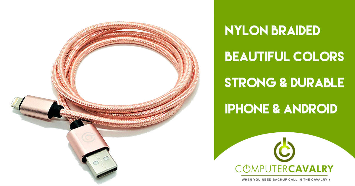 Pink Braided Lightning Charger Cable -computercavalry