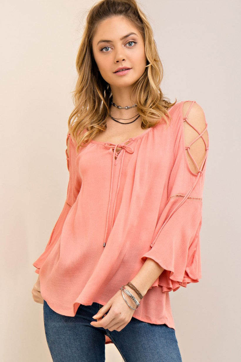 a140e96b455 Peach Open Shoulder Bell Sleeve Top – Turquoise Buckle Boutique