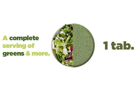 1 tablet of full greens is equivalent to a whole serving of wholefood vegetables a day - includes 33 superfoods, veggies, fruits and vitamins.