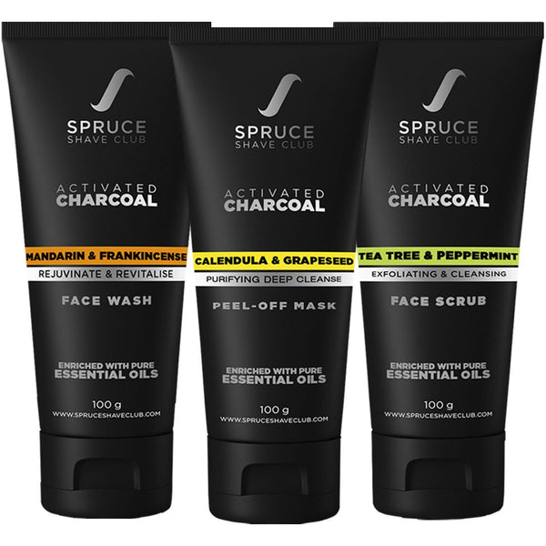 Charcoal Facial Cleansing Kit | Face Wash, Face Scrub, Peel Off Mask