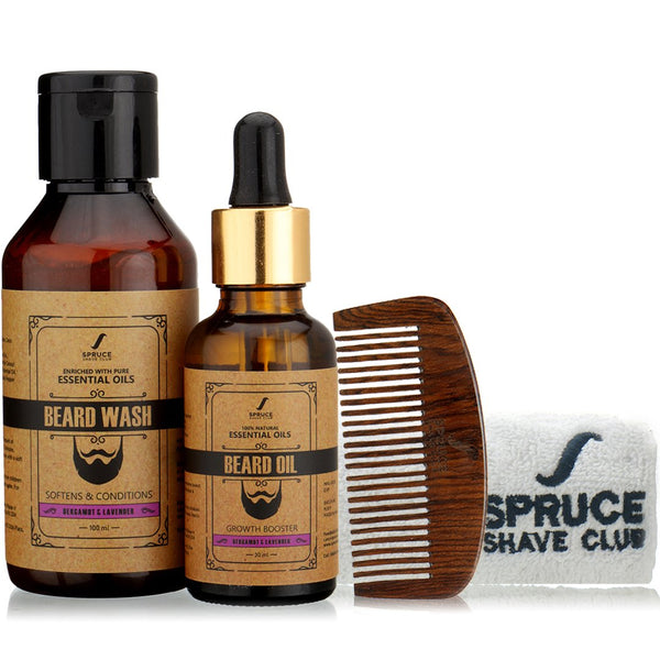 Beard Care Bundle | Oil, Wash, Comb, Towel | Bergamot & Lavender - SpruceShaveClub