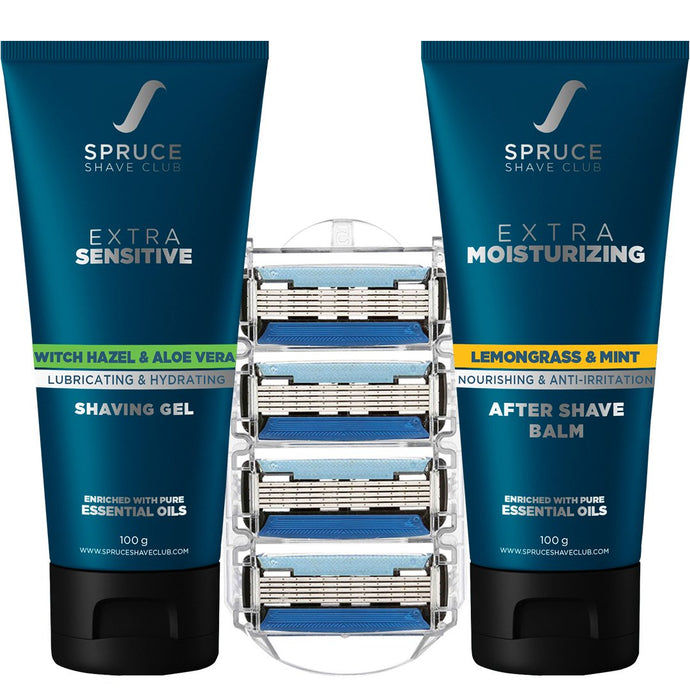 5X Essentials Refill Pack | 5X Cartridges, Shaving Gel, Aftershave - SpruceShaveClub
