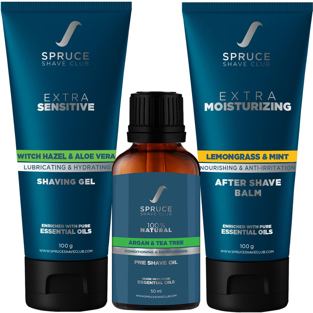 Extra Sensitive Shave Trio | Pre Shave Oil, Shaving Gel, Aftershave Balm - SpruceShaveClub