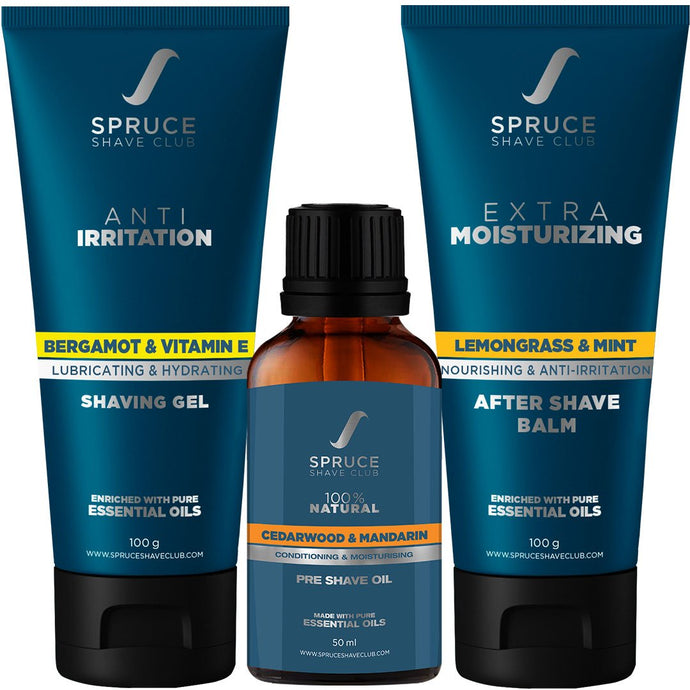 Anti Irritation Shave Trio | Pre Shave Oil, Shaving Gel, Aftershave Balm - SpruceShaveClub