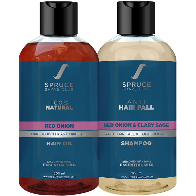 Anti Hair Fall Duo | Red Onion Hair Oil & Shampoo - SpruceShaveClub