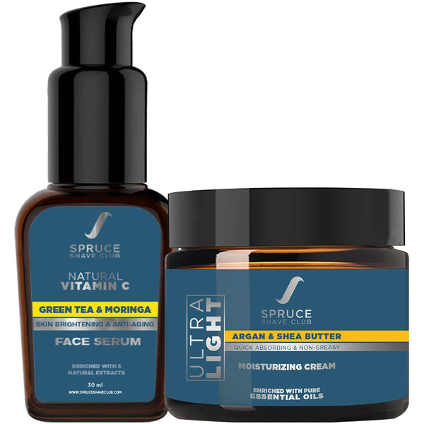 Skin Hydration Duo | Vitamin C Face Serum, Daily Moisturizing Cream - SpruceShaveClub