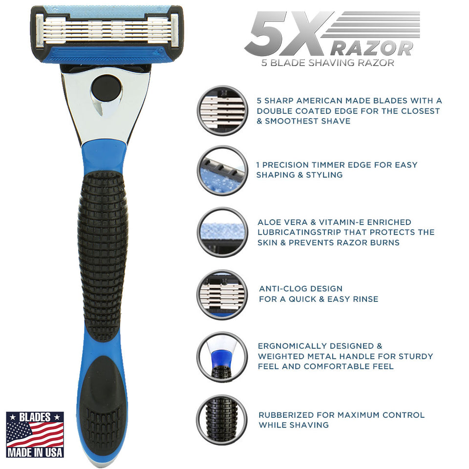 The 5X Shaving Razor (Razor Handle + 1 Cartridge) - SpruceShaveClub