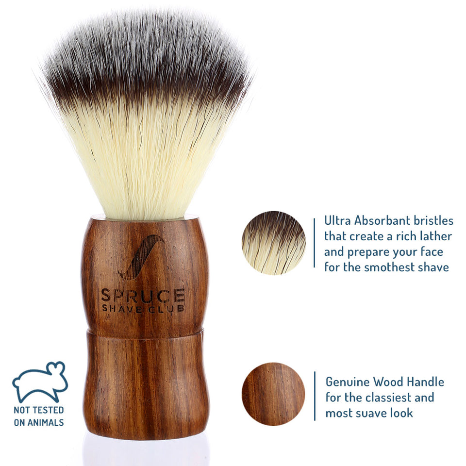 Shaving Brush | Genuine Wood | Imitation Badger Hair - SpruceShaveClub