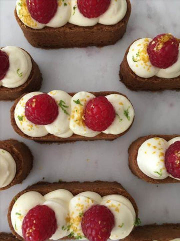 Almond Fingers with Lemon Icing and Raspberries