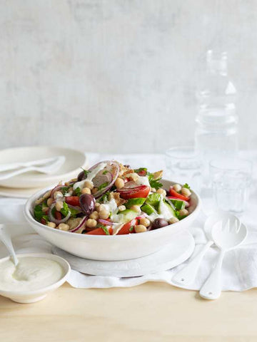 Crunchy Chick Pea Salad with Feta Dressing