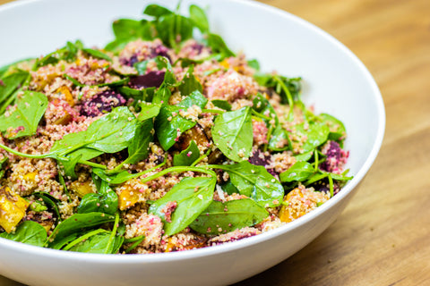 Couscous, Beetroot, Kumara, Spinach and Feta Salad