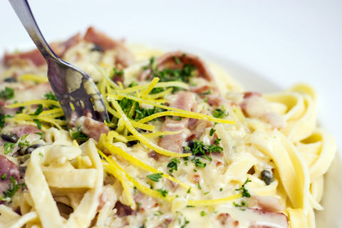 Lemon and Caper Alfredo Sauce with Pancetta