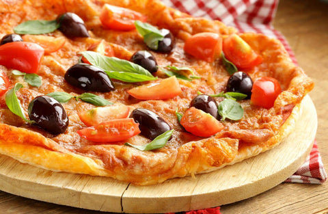 Pizza with Kalamata Olives Fresh Basil and Tomatoes