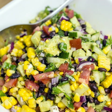 Corn and Red Kidney Bean salad with a Lime and Cumin Dressing