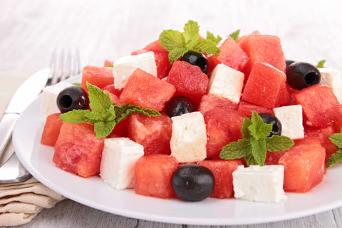 Watermelon Feta and Olive Salad