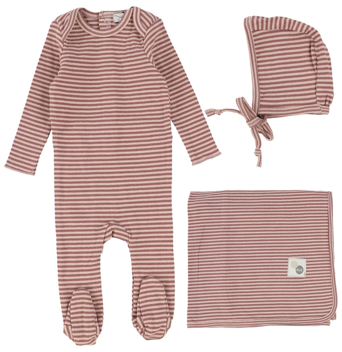 LIL LEGS MULBERRY STRIPED LAYETTE SET